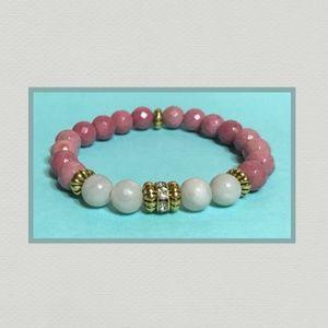 Jewelry - Pink Rose Rhodonite & White Phoenix Agate Bracelet